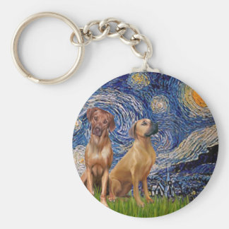 Rhodesian Ridgeback Pair - Starry Night Keychain