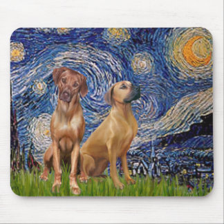 Rhodesian Ridgeback Pair - Starry Night Mouse Pad