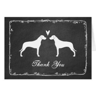 Rhodesian Ridgeback Silhouettes Wedding Thank You Card