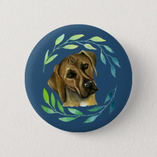 Rhodesian Ridgeback with a Wreath Watercolor 2 Inch Round Button