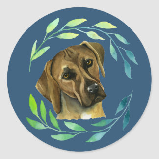Rhodesian Ridgeback with a Wreath Watercolor Classic Round Sticker