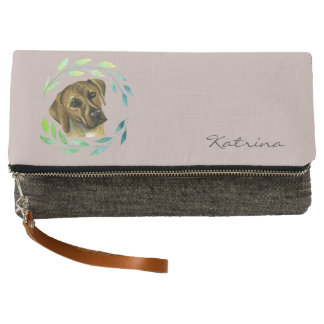 Rhodesian Ridgeback with a Wreath Watercolor Clutch