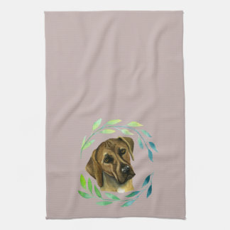 Rhodesian Ridgeback with a Wreath Watercolor Kitchen Towel