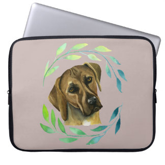 Rhodesian Ridgeback with a Wreath Watercolor Laptop Sleeve