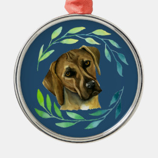 Rhodesian Ridgeback with a Wreath Watercolor Metal Ornament