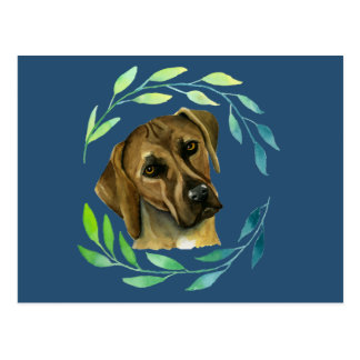 Rhodesian Ridgeback with a Wreath Watercolor Postcard