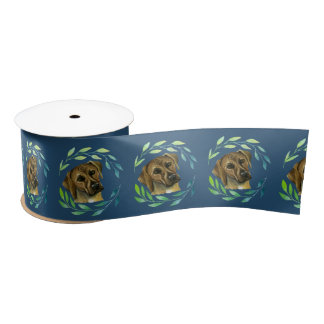 Rhodesian Ridgeback with a Wreath Watercolor Satin Ribbon