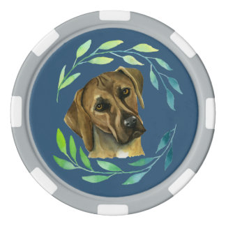 Rhodesian Ridgeback with a Wreath Watercolor Set Of Poker Chips
