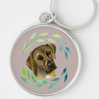 Rhodesian Ridgeback with a Wreath Watercolor Silver-Colored Round Keychain