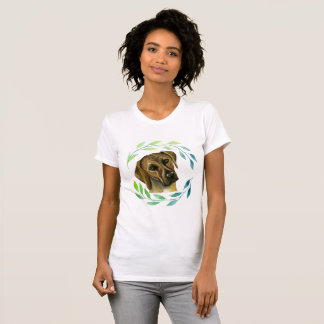 Rhodesian Ridgeback with a Wreath Watercolor T-Shirt