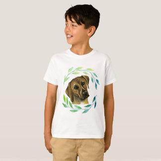 Rhodesian Ridgeback with a Wreath Watercolor T-Shirt