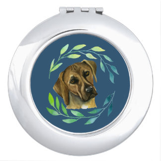 Rhodesian Ridgeback with a Wreath Watercolor Travel Mirror