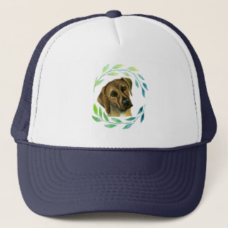 Rhodesian Ridgeback with a Wreath Watercolor Trucker Hat