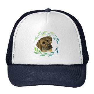 Rhodesian Ridgeback with a Wreath Watercolor Trucker Hat