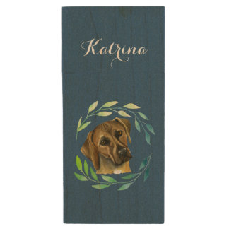 Rhodesian Ridgeback with a Wreath Watercolor Wood USB Flash Drive