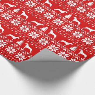 Rhodesian Ridgebacks Christmas Sweater Pattern Red Wrapping Paper