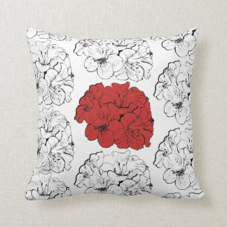 Rhododendron Flower Floral Black White Colorful Throw Pillow