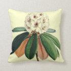 Rhododendron vintage botanical illustration throw pillow