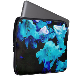 Rhododendrons in Blue, Floral, Blue Flowers Laptop Sleeve