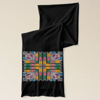 Rhombus squares and a cross scarf