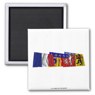 Rhône, Rhône-Alpes & France flags Square Magnet