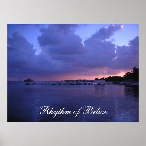 Rhythm of Belize Sunset on the Dock Print