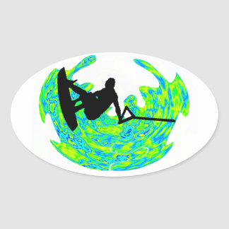 RHYTHM OF WAKEBOARDING OVAL STICKER