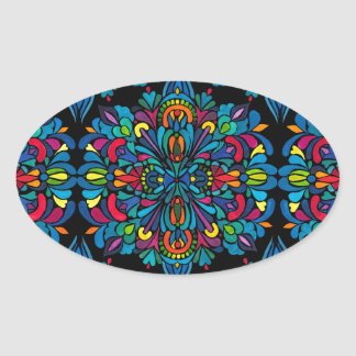 Rhythm, tropical oval sticker