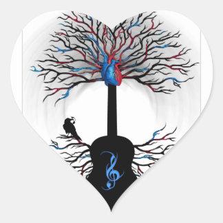 Rhythms of the Heart - ( surreal guitar art ) Heart Sticker