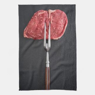 Rib eye steak kitchen towel