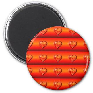 Ribbed Burning Hearts Refrigerator Magnets