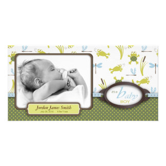 Ribbit Frog and Dragonfly Birth Announcement Picture Card