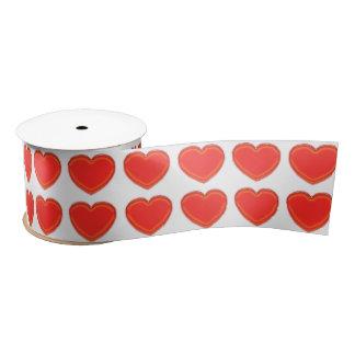 Ribbon - 3-D Red Heart (2 rows) Satin Ribbon