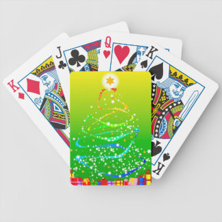 Ribbon and Star Christmas Tree Bicycle Playing Cards