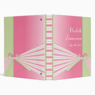 Ribbon and Stripes Personalized Photo Album Binder