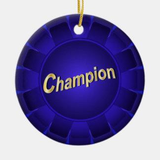 Ribbon Blue Champion to Customize Ceramic Ornament