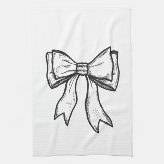 Ribbon bow black and white drawing kitchen towel