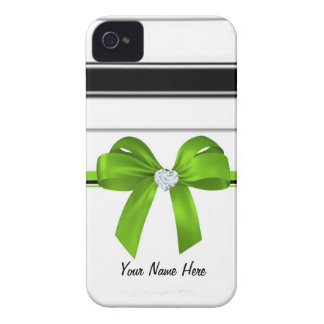 Ribbon Bow & Bling Heart Diamond [green]-iphone4 Case-Mate iPhone 4 Case