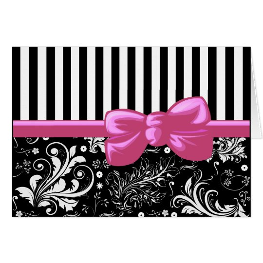 Ribbon, Bow, Damask, Swirls, Stripes - Black Pink Card