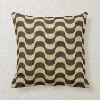Ribbon Chevron Distressed Tan Brown Turquoise Blue Throw Pillow