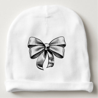 Ribbon Gift Bow Vintage Woodcut Engraved Etching Baby Beanie