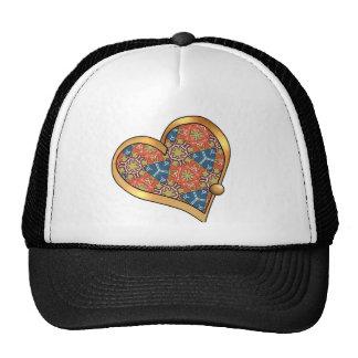 Ribbon Heart-09 Navy and Burnt Orange Rust Trucker Hat