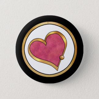 Ribbon Heart-16 Plain Ruby Red 2 Inch Round Button