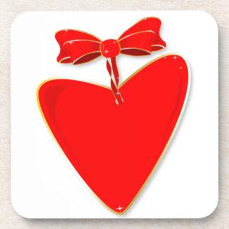 Ribbon Heart Drink Coasters
