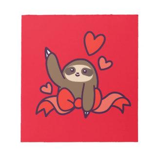 Ribbon Heart Sloth Notepad