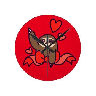 Ribbon Heart Sloth Round Clock