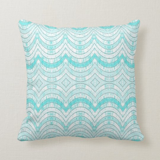 RIBBON PATTERN PILLOW, Distressed Cyan Print Throw Pillow