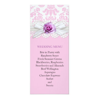 "Ribbon Rose Lace Damask Wedding Menu 4"" X 9.25"" Invitation Card"