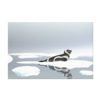 Ribbon Seal On Ice Stretched Canvas Prints