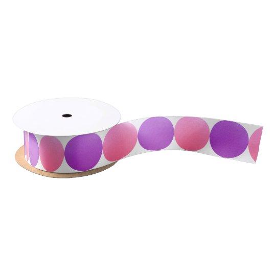 Ribbon With Pink and Violet Circles Satin Ribbon